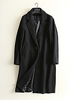 cheap -Women's Fall & Winter Coat Long Solid Colored Daily Basic Black Dusty Blue S M L