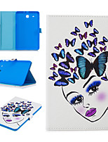 cheap -Case For Samsung Galaxy Tab E T560 Card Holder Shockproof Pattern Full Body Cases animal PU Leather TPU magnetic buckle butterfly