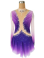 cheap -Figure Skating Dress Women's Girls' Ice Skating Dress Violet Glitter Patchwork Spandex High Elasticity Competition Skating Wear Handmade Crystal / Rhinestone Long Sleeve Ice Skating Winter Sports
