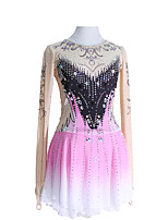 cheap -Figure Skating Dress Women's Girls' Ice Skating Dress Pink Glitter Patchwork Spandex High Elasticity Competition Skating Wear Handmade Crystal / Rhinestone Long Sleeve Ice Skating Winter Sports
