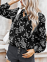 cheap -Women's Going out Blouse Shirt Color Block Star Long Sleeve Print V Neck Tops Elegant Sexy Basic Top Black