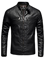 cheap -mens casual slim fit moto bomber biker racer jacket faux leather black, small