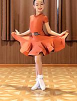cheap -Latin Dance Dress Ruching Girls' Performance Short Sleeve Spandex
