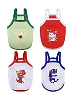 cheap -Dog Cat Vest Animal Character Cute Dog Clothes White Red Green Costume Polyester XS S M L XL XXL