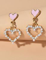 cheap -Women's Drop Earrings Heart Sweet Heart Sweet Imitation Pearl Earrings Jewelry White For Date Birthday