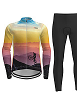 cheap -Men's Long Sleeve Cycling Jersey with Tights Purple Novelty Bike Breathable Quick Dry Moisture Wicking Sports Novelty Mountain Bike MTB Road Bike Cycling Clothing Apparel / Micro-elastic