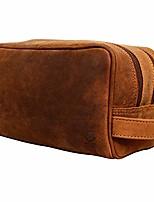 cheap -genuine leather travel toiletry bag - dopp kit organizer by  (brown)