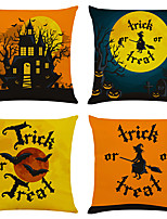 "cheap -Halloween Party Halloween Decor Horror Ghost Set of 4 Halloween Print Linen Square Decorative Throw Pillow Cases Sofa Cushion Covers 18""x18"""