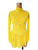 cheap -Figure Skating Dress Women's Girls' Ice Skating Dress Yellow Glitter Patchwork Spandex High Elasticity Competition Skating Wear Handmade Crystal / Rhinestone Long Sleeve Ice Skating Figure Skating
