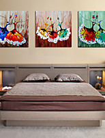 cheap -Oil Painting Hand Painted - Abstract People Comtemporary Modern Rolled Canvas (No Frame) / Three Panels