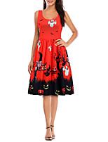 cheap -Women's A-Line Dress Knee Length Dress - Sleeveless Print Patchwork Print Summer Elegant Vintage Party Halloween Slim 2020 Red S M L XL XXL