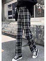 cheap -Women's Basic Daily Wide Leg Pants Plaid Checkered Breathable Black S M L