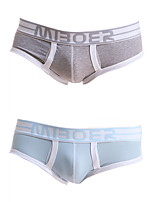 cheap -Men's 2 Piece Basic Briefs Underwear - Normal Low Waist Multi color M L XL