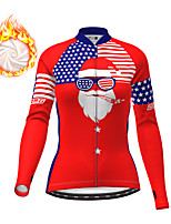 cheap -21Grams Women's Long Sleeve Cycling Jersey Winter Fleece Polyester Red Christmas National Flag Bike Top Mountain Bike MTB Road Bike Cycling Fleece Lining Breathable Warm Sports Clothing Apparel
