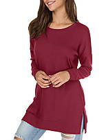 cheap -Women's Sweatshirt Pure Color Crew Neck Solid Color Sport Athleisure Pullover Long Sleeve Warm Soft Comfortable Everyday Use Exercising General Use