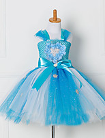 cheap -Princess Cosplay Costume Costume Girls' Movie Cosplay Tutus Plaited Vacation Dress Blue Dress Christmas Halloween Carnival Polyester / Cotton Polyester