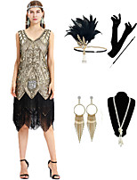 cheap -The Great Gatsby Vintage 1920s Flapper Dress Outfits Masquerade Women's Tassel Fringe Costume Golden Vintage Cosplay Party Prom / Gloves / Headwear / Necklace / Earrings / Cigarette Stick