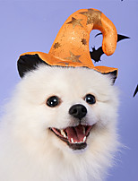 cheap -Dog Cat Halloween Costumes Dog Bandana & Dog Hat Dog Birthday Bandana Hat Skull Pumpkin Party Cosplay Party Halloween Dog Clothes Double-Sided Yellow Costume Polyester One-Size