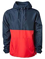 cheap -slim fit half zip up pull-over hooded windbreaker jacket men women navy/red