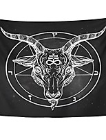 cheap -tapestry pentagram with demon baphomet satanic goat head binary symbol tattoo retro music summer for biker black home decor wall hanging for living room bedroom dorm 60x80 inches