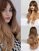 cheap -Synthetic Wig Ombre Cosplay Wig Wavy Body Wave Middle Part Side Part Wig Very Long Dark Brown Ombre Brown Yellow Synthetic Hair 28 inch Women's Cosplay Party Color Gradient Brown Ombre BLONDE UNICORN