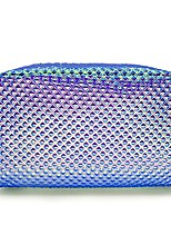 cheap -holographic cosmetic bag makeup bag toiletry travel bag handy large protable wash pouch waterproof zipper handbag carry case organizer mermaid makeup brush bag(shiny purple bag)
