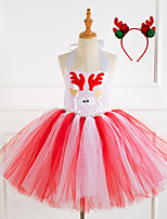 cheap -Reindeer Cosplay Costume Costume Girls' Movie Cosplay Tutus Christmas Pink / Coffee Dress Headwear Christmas Halloween Carnival Polyester / Cotton Polyester