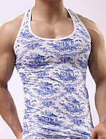 cheap -Men's Normal Touch of Sensation Round Neck Undershirt Print Print