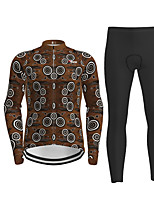 cheap -21Grams Men's Long Sleeve Cycling Jersey with Tights Coffee Novelty Bike Breathable Quick Dry Moisture Wicking Sports Novelty Mountain Bike MTB Road Bike Cycling Clothing Apparel / Micro-elastic