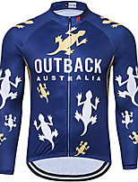 cheap -21Grams Men's Long Sleeve Cycling Jacket Dark Blue Animal Bike Jersey Top Mountain Bike MTB Road Bike Cycling UV Resistant Breathable Quick Dry Sports Clothing Apparel / Stretchy