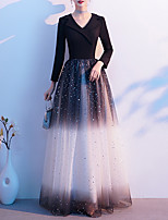 cheap -A-Line Color Block Glittering Wedding Guest Formal Evening Dress V Neck Long Sleeve Floor Length Spandex Tulle with Sequin 2020