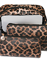 cheap -3pcs Travel Organizer Cosmetic Bag Travel Toiletry Bag Large Capacity Washable Travel Storage Durable Leopard Print PU Leather For Portable Foldable Luggage