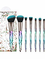 cheap -makeup brush set 7pcs crystal transparent handle kabuki powder foundation brush concealer eye shadow eyebrow brush for girls ideal beauty tool for women