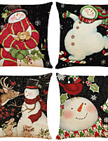 cheap -Set of 4 Christmas snowman Linen Square Decorative Throw Pillow Cases Sofa Cushion Covers 18x18