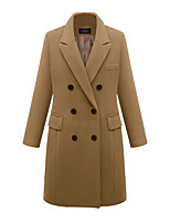 cheap -Women's Fall & Winter Double Breasted Coat Long Solid Colored Daily Basic Black Wine Khaki Gray XL XXL 3XL 4XL / Slim