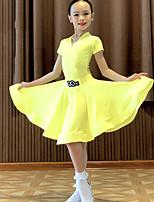 cheap -Latin Dance Skirts Ruching Girls' Performance Short Sleeve Natural Spandex