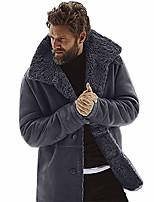 cheap -kemilove men's vintage sheepskin jacket fur leather jacket cashmere shearling coat (gray, l)