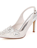 cheap -Women's Wedding Shoes Stiletto Heel Pointed Toe Chinoiserie Wedding Party & Evening Rhinestone Satin Flower Floral Lace White / Light Purple / Ivory