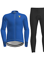 cheap -21Grams Men's Long Sleeve Cycling Jersey with Tights Black Blue Solid Color Bike Breathable Quick Dry Moisture Wicking Sports Solid Color Mountain Bike MTB Road Bike Cycling Clothing Apparel