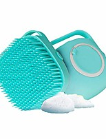 cheap -dog bath brush,  pet massage brush shampoo dispenser, soft silicone brush rubber bristle for dogs and cats shower grooming(blue)