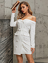 cheap -Women's A-Line Dress Short Mini Dress - Long Sleeve Solid Color Backless Lace up Patchwork Summer Off Shoulder Sexy 2020 White S M L XL