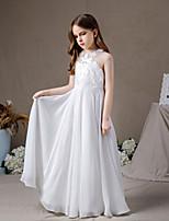 cheap -A-Line Halter Neck Floor Length Chiffon Junior Bridesmaid Dress with Pleats