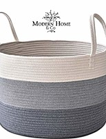 cheap -xxl cotton rope basket 20x13.3 woven baby laundry baskets storage bins,thread hamper decorative clothes wicker bin with long handles extra large for blanket,pillows,toy,coiled grey
