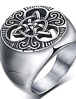 cheap -mens celtic knot signet rings round vintage stainless steel ring for biker size 8