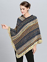 cheap -Women's Fall & Winter V Neck Cloak / Capes Regular Striped Daily Basic Tassel Fringe Red Yellow Fuchsia One-Size / Patchwork / Loose