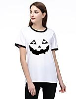 cheap -Women's Halloween T-shirt Graphic Prints Pumpkin Print Round Neck Tops Basic Halloween Basic Top White