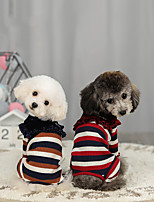 cheap -Dog Sweater Jumpsuit Stripes Casual / Sporty Fashion Casual / Daily Winter Dog Clothes Breathable Red Blue Costume Cotton S M L XL XXL