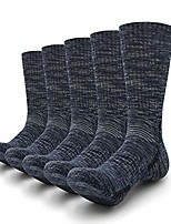 cheap -hiking socks mens moisture wicking thick padded cotton sock trekking outdoor performance 5 pack, 5 x dark blue, l (men shoe 10-12 us)