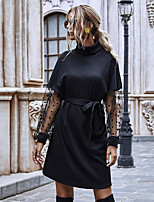 cheap -Women's Sweater Jumper Dress Knee Length Dress - Long Sleeve Solid Color Lace Ruched Patchwork Fall Casual Puff Sleeve Slim 2020 Black S M L XL