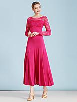 cheap -Ballroom Dance Dress Lace Split Joint Women's Performance Long Sleeve High Lace Milk Fiber